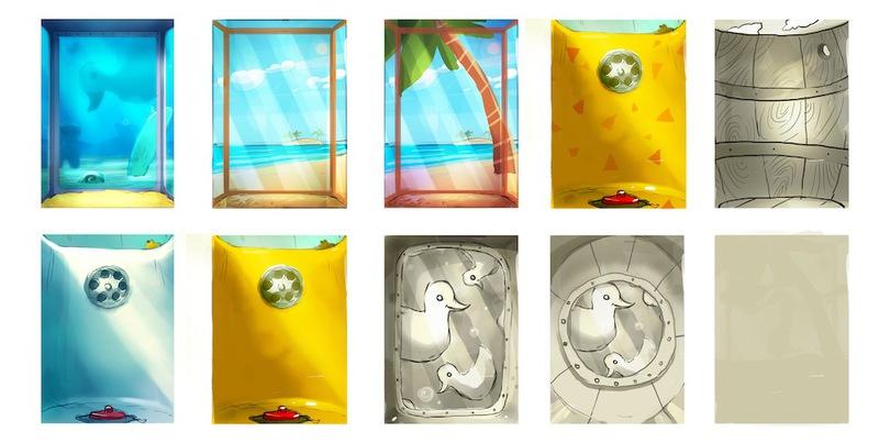 процесс поиска визуального оформления левел-пака «Время купаться»