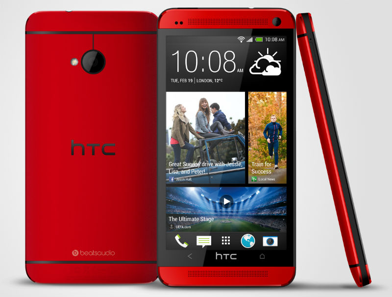 HTC One Red three view