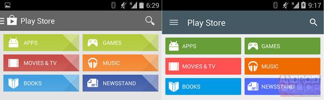 Слева текущая версия Google Play, а справа - новая