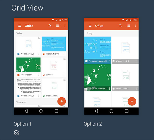 Material design for Office 365