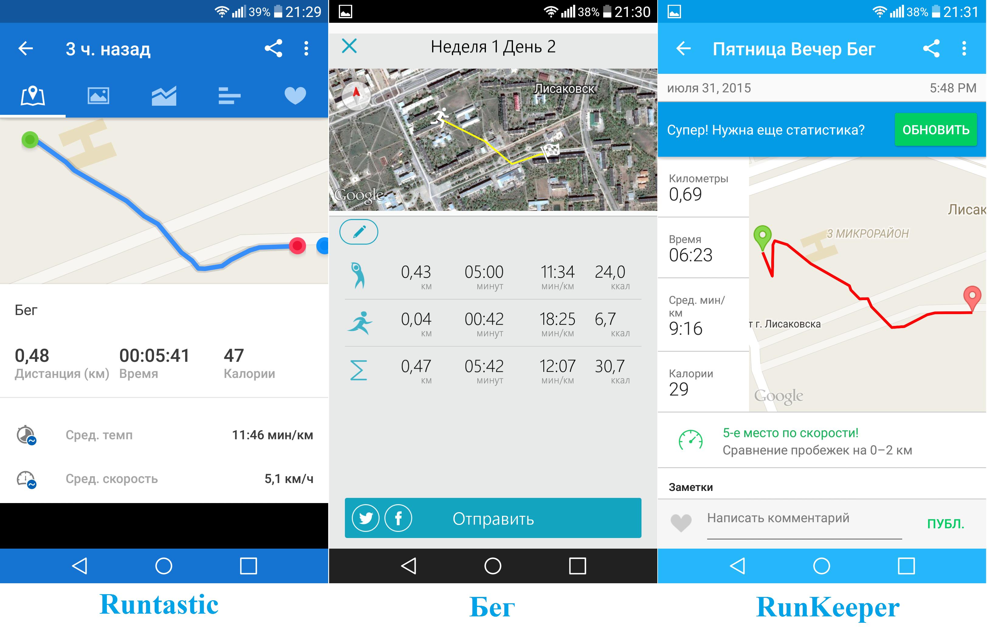 Приложения для андроида для бега