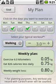 Планирование в Weight Loss Trainer