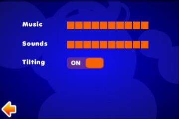 В настройках регулируются параметры звука, а так же включается управления с помощью наклонов смартфона.