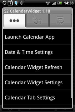 Три вкладки приложения S2 Calendar