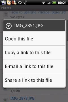 Это меню появляется при удержании пальца на любом из файлов, расположенном у вас в коробке.