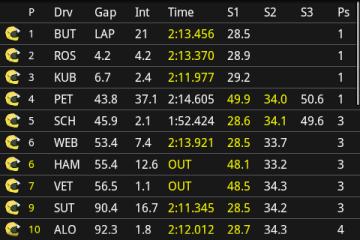 А так выглядит окно программы во время гонки: информация выводится в реальном времени.