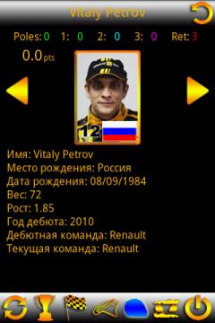 Карточка отечественного пилота Виталия Петрова.