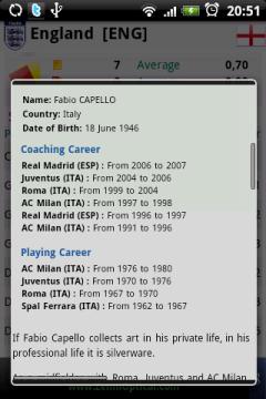 ...и другую информацию о прежних клубах, в которых работал выбранный спортсмен.