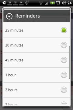 Можно активировать напоминание, за несколько минут, часов или даже дней до начала события.