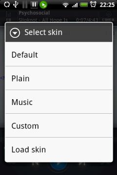 Вместе с выбором скина, изменится внешний вид проигрывателя. От скина зависит не только дизайн, но и наличие некоторых кнопок на экране.