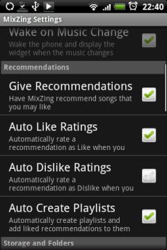 Mixzing любит выдавать рекомендации, в этом разделе настроек они регулируются.