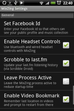Здесь можно привязать проигрыватель к Faccebook, включить управление с гарнитуры, привязать плеер к аккаунту в last.fm