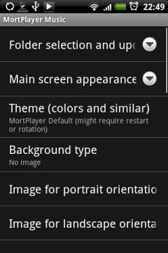 Здесь можно подстроить оформление Mort Player под себя: выбрать цветовую схему из представленных, установить обои, выставить картинку отдельно для плеера в горизонтальной и вертикальной ориентации экрана.