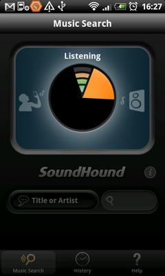 SoundHound слушает трек и пытается узнать его